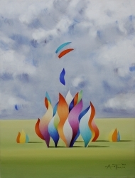 Sky and Figures 1,81x60 cm,2021